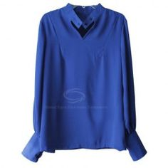 Fresh Style Stand-Up Neck Puff Sleeves Solid Color Chiffon Shirt For Women