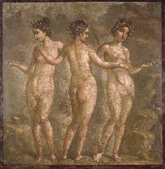 Le tre Grazie: Aglaia (splendore), Eufrosine (gioia) e Talia (fioritura) - affresco pompeiano (IV stile) - Museo Arch. Naz. Napoli