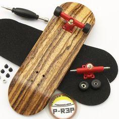 Peoples Republic Zebra Complete Wooden Fingerboard w Nuts Trucks - Basic Bearing Wheels