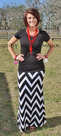 Giddy Up Glamour  Don't Stop, Get It, Get It Chevron Skirt  $36.95