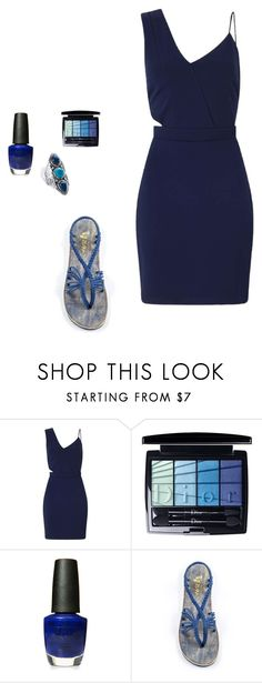 """""""Indigo love"""" by plaka-sandals ❤ liked on Polyvore featuring Miss Selfridge, Christian Dior, OPI and Palm Beach Jewelry"""