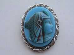 Vintage Whiting Davis Egyptian KING TUT  Turquoise Silver Setting  Book Piece Pin Brooch