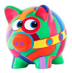 Cerdito colorido Pig Bank, Personalized Piggy Bank, Pig Drawing, Anubis, Crochet For Beginners, Art Classroom, Stone Art, Diy For Kids, Dibujo