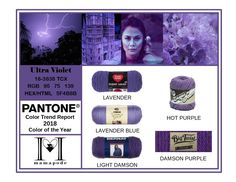 Ultra Violet - Pantone Color Trend Report 2018 Color of the Year Fashion trend analysis and yarn matching by mamapode Tight Crochet Yarn Colors, Colours, Mango Mojito, Pink Peacock, Trend Analysis, 2018 Color, Lavender Blue, Purple Rain, Color Of The Year