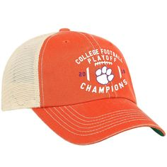 6addf197272 Clemson Tigers 2018-2019 Football National Champions Orange Mesh Adj. Hat  Cap  TopoftheWorld