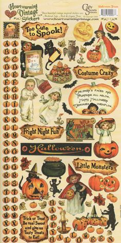 Show details for Heartwarming Vintage Cardstock Stickers Halloween Goodies, Halloween Stickers, Halloween Art, Halloween 2019, Holidays Halloween, Halloween Treats, Vintage Halloween, Happy Halloween, Halloween Decorations