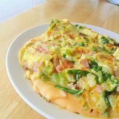 Omelette de jamón con espárragos