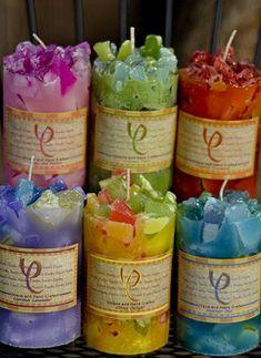 Chunk top candles by Carole's Candles. They look like they're made out of crystals!