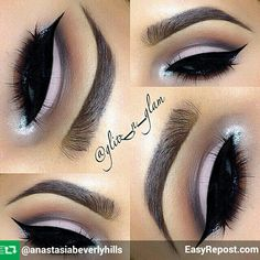 """Love this """"Brass Plum"""" combo  by @glitz_n_glam  BROWS: Ebony Dipbrow Dipbrow  EYES: Mac eyeshadows : Swiss Chococolate shadow in the crease also used to smoke out the bottom lash line.  @tartecosmetics """"Be Mattenificent """"palette used on the lid, crease and browbone highlight. @eyekandycosmetics platinum sprinkles on inner & outer corners"""