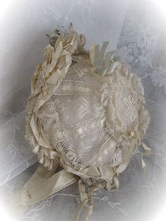 Breathtaking Early Original French Lace and Ribbon Bonnet for Antique Doll Bebe