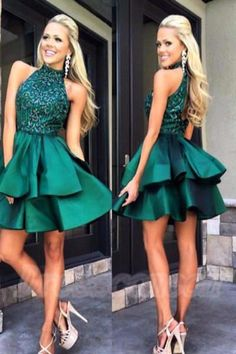A0030 New Arrival Green Halter Beading Open Back Homecoming Dresses 2017