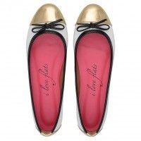 Sapatilha Verniz Branco e Preto Love067BR #sapatilhas #iloveflats #flats #shoes #fashion #captoe