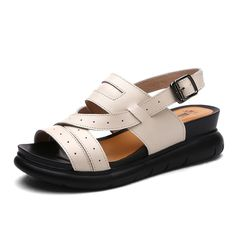 Cake thick-soled sandals/Leather wedge sandals in the summer/UK leisure sandals >>> Check this awesome product by going to the link at the image.