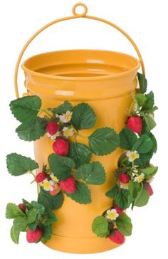 HIT 8493E SAFF Enameled Floor or Hanging StrawberryHerb Planter 10 by 19Inch Saffron *** Find out more about the great product at the image link.