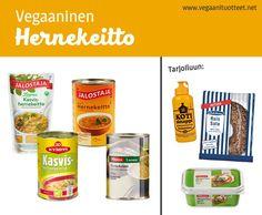 """Vegaaniset pussi- ja purkkihernekeitot ovat käytännössä lämmittämistä vaille valmista sapuskaa. Hernekeitto on myös yksi edullisimmista ruuista valmistaa itse kuivatuista herneistä.  Hernekeiton sekaan voi halutessaan lisätä maustettua soijarouhetta tai vegepekonia (""""vekoni"""") tuomaan savuista aromia. Vekonireseptejä: http://vegaaninenversio.blogspot.fi/2011/07/vegaaninen-pekoni.html http://chocochili.net/2013/03/savukookoslastut/"""