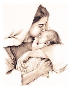 Beautiful picture of Mary and baby Jesus. Blessed Mother Mary, Divine Mother, Blessed Virgin Mary, Religious Pictures, Jesus Pictures, Catholic Art, Religious Art, Tattoo Maria, Jesus Drawings
