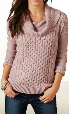 AE Dusty Rose Cabled Sweater ♥