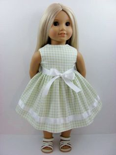 Light Green and White Gingham Doll Dress for the American Girl Doll