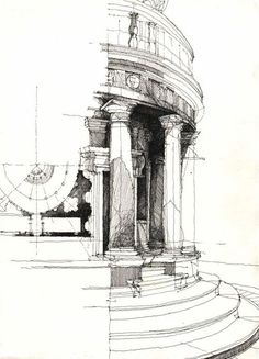 sketches (of Bramante's Tempietto?)