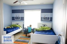 I am so excited to show you how the boys' shared bedroom makeover turned out! They absolutely love it! {see the before here} And, I think the boys room turned out so awesome! Everything went together very nicely. I love all the colors. The HGTV® HO