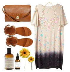 space and cognac! by thegardener on Polyvore featuring polyvore fashion style Tsumori Chisato Madden Girl Luella H&M Le Labo clothing floral handbags mini handbags statement necklaces t-shirt dresses ankle cuff sandals collar necklaces chunky necklaces leather purse sandals star print space mini dress planets flats