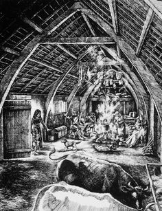 The basic peasant house in the 13th century was about 15 feet wide and might be twice the length; houses of the 14th century were about 20 feet wide and 80 feet in length. This is an artists conception of a cruck house.