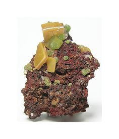 Yellow Orange Wulfenite Crystals with Green Botryoidal Mimetite Mineral Specimen mined in the 1980's