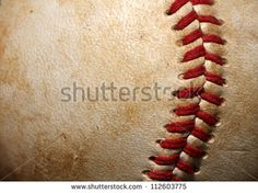 """Title: """"Close Up of a Baseball Threads with Room for Copy."""" Description: """"Great looking close up of a baseball that would look great in any room."""" BB - Close up of a baseball threads with room for copy - stock photo"""
