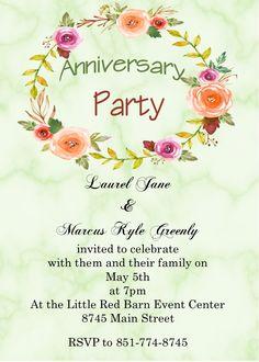 First Anniversary Celebration Invitations First Anniversary, Anniversary Parties, Anniversary Party Invitations, Rsvp, Celebrities, Flowers, Marble, Summer, First Birthdays
