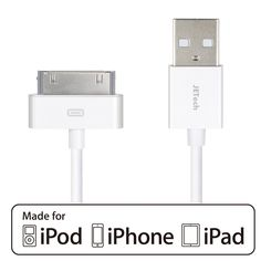 iPhone 4s Cable, JETech USB Sync and Charging Cable for iPhone 4/4s, iPhone 3G/3GS, iPad 1/2/3, iPod (White). Meets/exceeds Apple's standards. 3.2ft (1 meter) long Apple 30-pin connector to USB Type A. Lightweight and easily coiled, highly durable construction for reliability. Durable cable jacket protects wire cores and resists kinks and tangles. Heavy-duty conductors to handle charging for iPad 1/2/3, iPhone 4/4S, iPhone 3G/3GS, iPod nano 5th/6th generations and iPod Touch 3rd/4th...