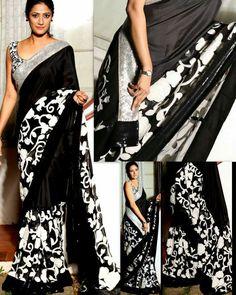 Black n white saree . but less border size