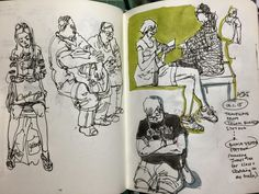 Sketching people on the train, traffic crossing and coffeeshop