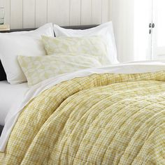 Oxford Yellow Twin Quilt  | Crate and Barrel