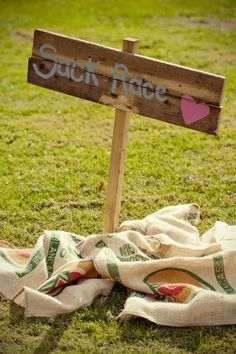 Wedding activity: Sack race! - English Barn Wedding from Marianne Taylor Photography