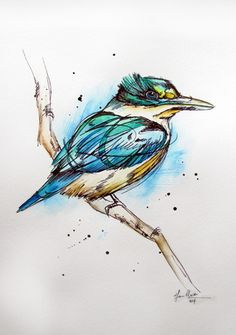 Inked tattoo nz kingfisher watercolour painting/illustration by www.fiona-c Watercolor And Ink, Watercolour Painting, Watercolors, Art Journal Pages, Kingfisher Tattoo, Fantasy Angel, Bird Sketch, New Zealand Art, Nz Art