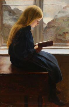 Læsende lille pige / A little girl reading, 1900, Johan Gudmundsen-Holmgreen. Danish (1858 - 1912)