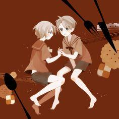 Little Alfred and Matthew - Art by 明治めとろ on Pixiv, found via Zerochan