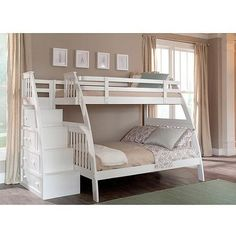 Canwood Ridgeline Twin over Full Bunk Bed with Built in Stairs Drawers, White