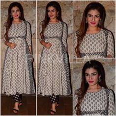 Raveena Tandon in Kalidar paired with clashing print pants (both) from Gulabo Jaipur. Hair brushed back, a red lipstick and a pair of earrings from EDesigns added finishing touches to her look. April, 2017 via Churidar Designs, Kurta Designs Women, Kurti Neck Designs, Dress Neck Designs, Kurti Designs Party Wear, Blouse Designs, Indian Gowns, Indian Attire, Indian Ethnic Wear