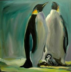 penquin paintings | Penguin animal oil painting