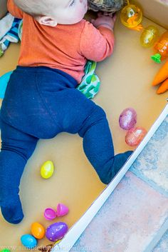Full Body Easter Sensory Bin for Babies - Simple Fun for Kids Baby Sensory Play, Sensory Bins, Toddler Learning Activities, Toddler Preschool, Baby Easter Basket, Holidays With Kids, Newborn Outfits, Full Body, Cool Kids