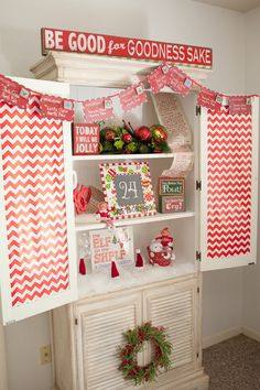 Love these decorations at a North Pole Elf on the Shelf Party!   See more party ideas at CatchMyParty.com!  #partyideas #christmas