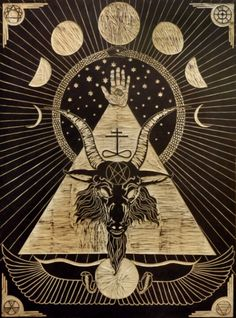~ And I believe in the Serpent and the Lion, Mystery of Mystery, in His name BAPHOMET.~ Baphomet woodblock by Jandro Montero and Tessa Harrison Baphomet, Satanic Art, Satanic Cross, Occult Art, Occult Tattoo, Mystique, Black Magic, Sacred Geometry, Dark Art