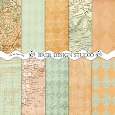 Mixed media paper- these instant download, printable papers work well for mixed media projects because they include script, vintage map, textured/distressed grunge backgrounds.