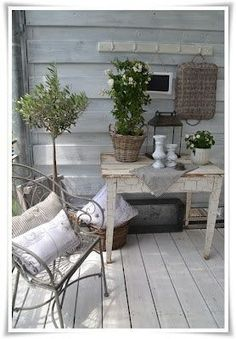 Old garden furniture and greenery