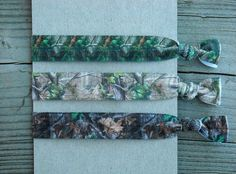 Green and Brown Hunting Camo Elastic Hair Ties Mossy Oak Realtree by Ink and Roses 13