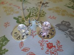 Personalized charm necklaces with name stamps!  Perfect for Mums' Day!