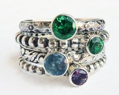 4  Birthstone Stacking Rings  Mothers Ring  by GizmosTreasures