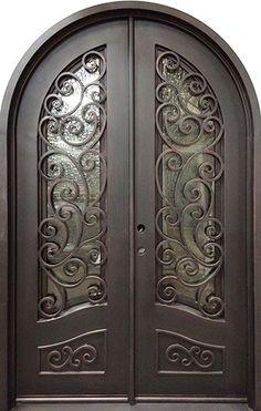 x Grecian Radius Top Iron Prehung Double Door Unit Iron Front Door, Double Front Doors, Kitchen Wall Tiles Design, Discount Interior Doors, Double Doors Exterior, Double Door Design, Room Door Design, Wrought Iron Doors, Steel Doors