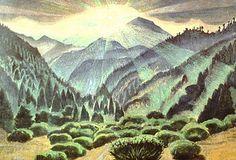 """Gerardo Murillo (Dr. Atl) """"Rayos del sol entre los montes"""""""